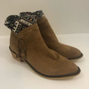 Mi.im tan suede bootie with print ankle sock